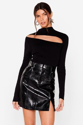 Nasty Gal Womens Slit Back Hard Faux Leather Croc Skirt - Black