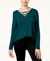 Hippie Rose Juniors' Long-Sleeve Lace-Up Cozy T-Shirt