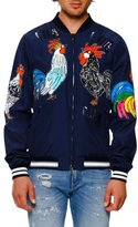 Dolce & Gabbana Sequined Satin Rooster Bomber Jacket, Navy