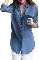 Allegra K Women Dolman Sleeve Side-Slit Chiffon Tunic Shirt