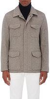 Kiton Men's Brushed Cashmere Melton Safari Jacket-TAN