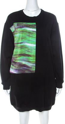 McQ Black Abstract Print Cotton Sweatshirt Dress L