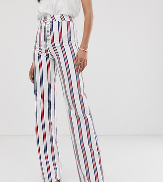 Asos Tall DESIGN Tall full length flare jeans in stripe with exposed fly detail-Multi