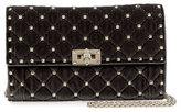 Valentino Garavani Rockstud Small Quilted Velvet Wallet-on-Chain, Black
