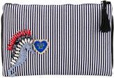 Lisa C Bijoux - embellished stripe clutch - women - Cotton/metal/glass - One Size