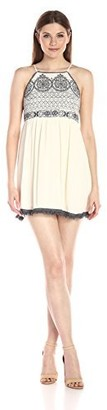Blu Pepper Women's Embroidered Spaghetti Strap Dress with Fringe Hem