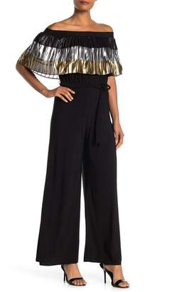 MSK Off-the-Shoulder Pleated Jumpsuit