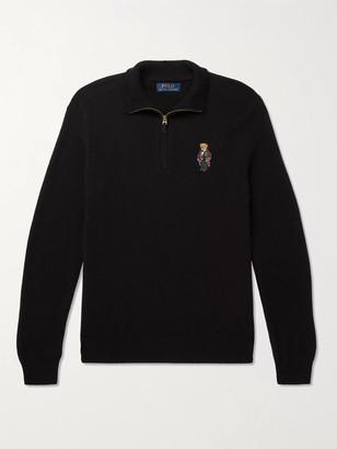 Polo Ralph Lauren Appliqued Wool And Cashmere-Blend Half-Zip Sweater