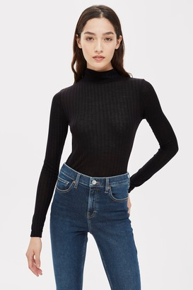 Topshop Womens Black Long Sleeve Funnel Neck Top - Black