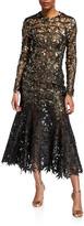 Oscar de la Renta Guipure Leaves Lace Trumpet Dress