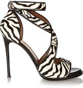 Givenchy Nilenia Sandals In Zebra-print Calf Hair With Leather Trim - Zebra print