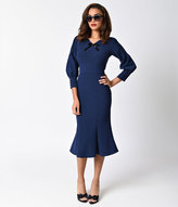 Stop Staring 1930s Style Navy Blue Knit Long Sleeve Wiggle Dress