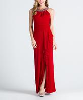 Red Ruffled-Slit Jeweled Yoke Gown