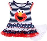 Children's Apparel Network Blue Stripe Elmo Triple-Ruffle Sleeveless Dress - Infant