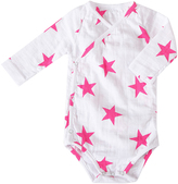Aden Anais Aden + Anais Muslin onesies with a crossover front Fluo Pink Stars