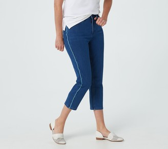 Denim & Co. Triblend Slim Straight Crop Jeans with Piped Side Seam