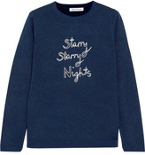 Bella Freud Starry Starry Nights Embroidered Metallic Wool-blend Sweater - Navy
