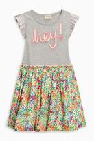 Next Girls Multi Floral Slogan Dress (3-16yrs) - Grey