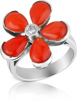 Del Gatto Diamond and Red Coral Flower 18K Gold Ring