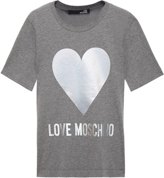 Love Moschino Iridescent Printed Cotton-jersey T-shirt