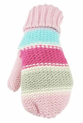 Glamour Girlz Ladies Thick Warm Winter Soft Chunky Knit Thermal Stripe Mittens (Pink Fuchsia)
