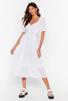 Nasty Gal Womens Tier for You Broderie Anglaise Midi Dress - black - S