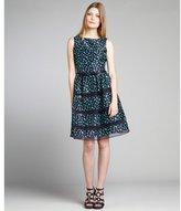 Taylor navy and green polka dot shantung silk chiffon trim dress