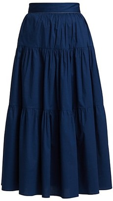 STAUD Sea Tiered Midi Skirt