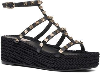 Valentino Garavani Rockstud Torchon Espadrille Platform Sandal