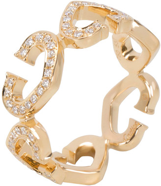 Cartier 18K Yellow Gold Diamond C Heart of Ring Size 53