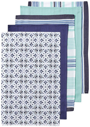 Ladelle Tile Printed 5pk Tea Towel Blue