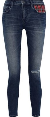 Current/Elliott The Stiletto Checked Twill-paneled Distressed Low-rise Skinny Jeans