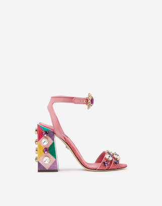 Dolce & Gabbana Sandals In Tropea Straw With Stone Embroidery
