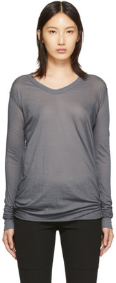 Rick Owens Grey V-Neck Long Sleeve T-Shirt