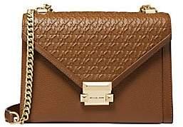 Michael Kors Women's Whitney Large Embossed Leather Shoulder Bag
