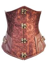 Kranchungel Women's Retro Goth Steel Boned Brocade Vintage Steampunk Corset Bustier Top Small