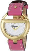 Salvatore Ferragamo Women's FG5050014 BUCKLE Diamond-Accented Stainless Steel Watch with Pink Leather Band