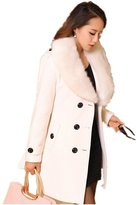 DreamMa Women Double Breasted Trench Type Wool Coat Slim Outerwear Jacket