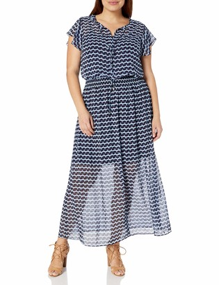 London Times Women's Plus Size Japanese Tile Chiffon Maxi Dress with Ruffle Sleeves