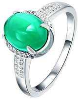 Epinki 925 Sterling Silver Women Wedding Ring Crystal Rounded Oval Green Jade Size 7
