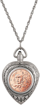 American Coin Treasures French 2 Euro Coin Heart Watch Pendant