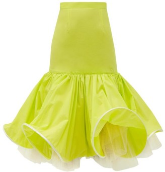 Matty Bovan - Wired-hem Fluted Poplin Skirt - Green