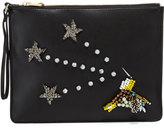 Cynthia Rowley Isla Crystal Star Faux-Leather Clutch, Black