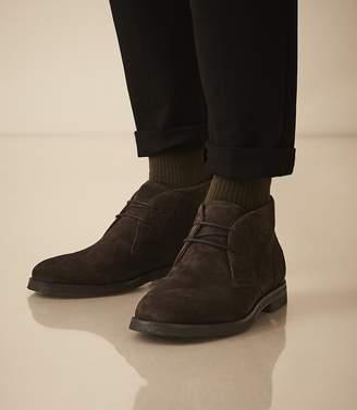 Reiss Reeves - Suede Crepe Sole Desert Boots in Dark Brown