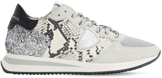 Philippe Model Trpx Phyton Print Glittered Sneakers