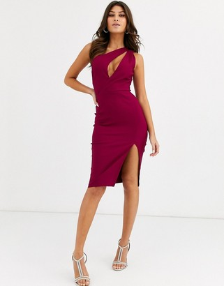Vesper one shoulder midi pencil dress in stretch with split in raspberry