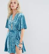 Glamorous Petite Wrap Front Skater Dress In Crushed Velvet