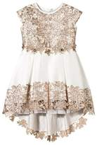 Lesy Gold and Off-White Embroidered Lace Dress