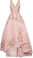 Oscar de la Renta Asymmetric Embellished Silk-faille Gown - Pastel pink