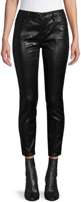 Frame Croc-Embossed Cotton-Blend Skinny Pants